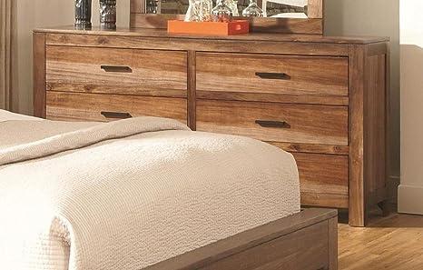 6-Drawer Dresser in Natural brown Finish