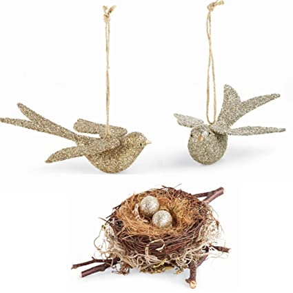 Glitter Doves & Nest Set of 3 by Mud Pie