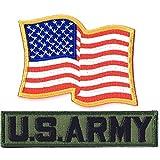アメリカ国旗パッチ ミリタリーワッペン 刺繍パッチ 星条旗ウエーブ+ARMYタブ NO-286-ARMY (ARMY-OD)
