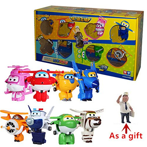 Super Wings Toy Set 8 Mini Transformation Robot Action baby toys for gifts