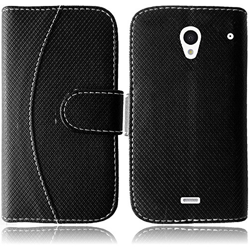 Pleasing Black Flip Premium Case Cover Protector Credit Card Holder Wallet with Magnetic Closure for Sharp Aquos Crystal (by Boost Mobile , Virgin Mobile , Sprint) with Free Gift Reliable Accessory Pen (Sharp Aquos Leather compare prices)