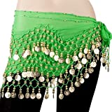 Chiffon Dangling Gold Coins Hip Scarf for Belly Dancing (Choose your favorite color)
