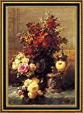 """Still Life of Roses and other Flowers, a Silver-Gilt Ostrich Egg Cup and a German Gold-Gilt Tankard on a Draped Table in an Interior by Jean Baptiste Robie - 21"""" x 28"""" Framed Premium Canvas Print"""