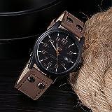 ZooooM 腕時計 メンズ クォーツ フェイク レザー ヴィンテージ 風 ダブル ピン バックル 男性用 皮 革 ファッション カジュアル ( ブラウン ) ZM-SANWONY1776-BR
