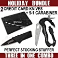 Combo Pack w/ 5-in-1 Carabiner Multitool & Credit Card Knife Survival Life Self Defense Weapon & Ultimate Survival Tool for Zombie Apocalypse Survival Kit by Grizzly Bone