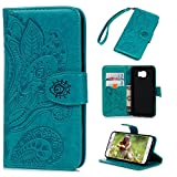 Galaxy S6 Case,Samsung Galaxy S6 Case - Wallet Flip Stand Case Embossed Plants PU Leather Case Shockproof Soft TPU Inner Bumper Slim Protective Card Slots Wrist Strap Cover by Badalink - Blue