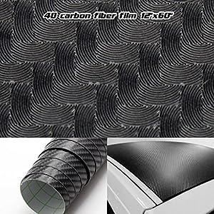 "Partsam 12"" x 60"" Gloss 4D Car Auto Carbon Fiber Vinyl Wrap Sticker Film Sheet Air Free For All Dodge from Partsam"
