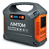 AIMTOM Portable Solar Generator, 42000mAh 155Wh Energy Inverter Supply, Emergency Backup Battery Box with Flashlights, Power Station for Camping, Home, CPAP, Car (110V AC Outlet, 3x12V DC, 3x USB) (Color: SPS-155)