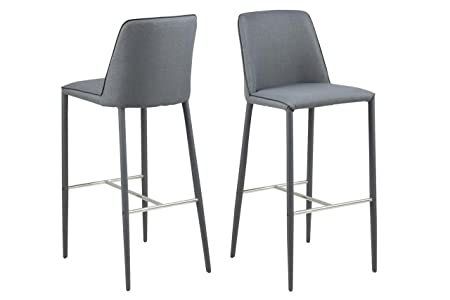 4 x BAR STOOL Grey Bar Stool with Back Rest Fabric All Legs Modern Bar Chair, Black