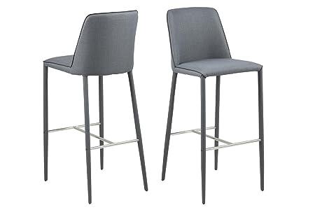 4x BAR STOOL Grey Bar Stool with Back Rest Fabric All Legs Modern Bar Chair, Black