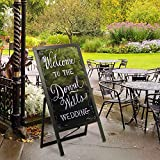 Large Wood Double Sided A-Frame Chalkboard and Liquid Chalk Marker Sidewalk Display Sign, Brown