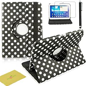 Fulland Colorful 360 Rotating Flip Leather Case Cover for Samsung Galaxy Tab3 10.1 P5200 with Smart Auto Wake/Sleep Function plus Stylus Touch Screen Pen and Screen Protector-Polka Dot White/Black