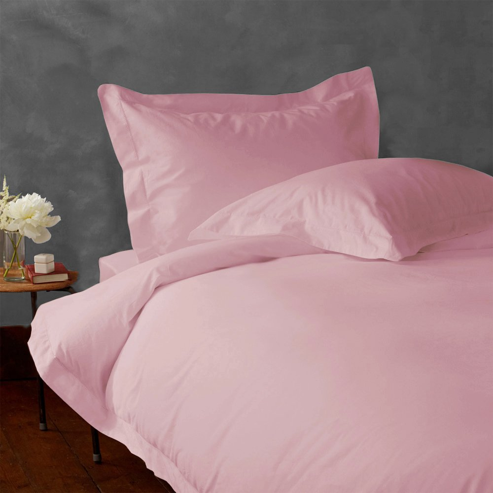 LACASA BEDDING 400 TC Egyptian cotton Duvet cover with Flat sheet Italian Finish Solid ( Twin XL , Pink )
