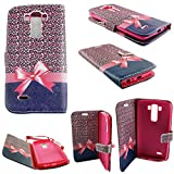 Mstechcorp - Lg G Vista Vs880 (Verizon) Tone Deluxe Dual-Use Flip PU Leather Wallet Pouch Case - Includes [Wall Charger Data Cable] + [Car Charger Data Cable] + [Touch Screen Stylus] + [2 Data Cables] + [Hands Free Earphone] (PINK RIBBON)