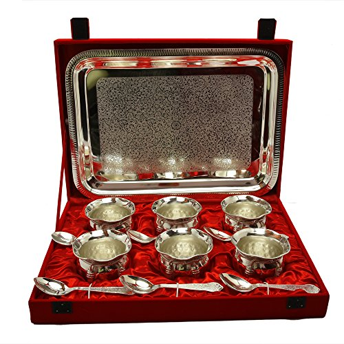 Silver Plated Handi Bowl,Tray With Spoon Set Of 13 Pcs.