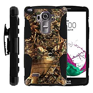 LG G Vista 2 | Rugged Armor Series Impact Hard Rubber Durable Unique Creative Cover + Belt Clip , Vista H740 by Miniturtle - Deer Hunting Leaves