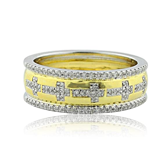 Rings-MidwestJewellery.com Women's 1/4Ctw Diamond Wedding Band Ring With Cross 10K Yellow Gold Two Tone