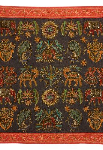 Imagen 1 de Zari bordado y lentejuelas trabajadas pared tradicional de algodón indio colgante-Mesa-Tapestry Tamaño banda 36 x 36 pulgadas