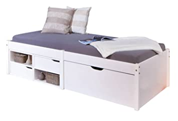 Links 20900150 Bett, Massivholz, weiß, Single, 209 x 97 x 48 cm