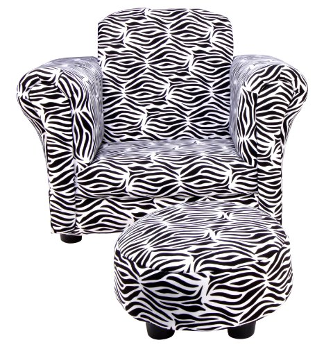 Trend Lab Club Chair and Ottoman Set, Zebra