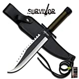 Survivor Rambo Style Hunting HUNTING Tactical Sharp Blade Military Knife Green Two Tone Blade w/Survival Kit + Free eBook by SURVIVAL STEEL