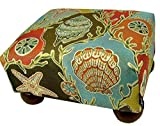 Multi Colored Seashells Upholstered Footstool Ottoman - Made in the USA