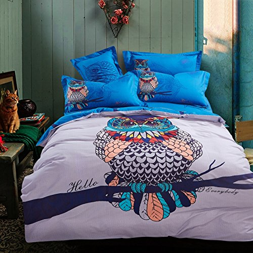 Cliab Adult Owl Bedding for Boys Queen Size 100% Cotton Duvet Cover Set 4 Pieces