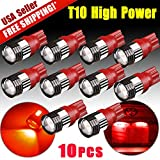Focuslife 10 x Red T10 Wedge High Power 3rd Brake Backup Light LED Bulbs Projector