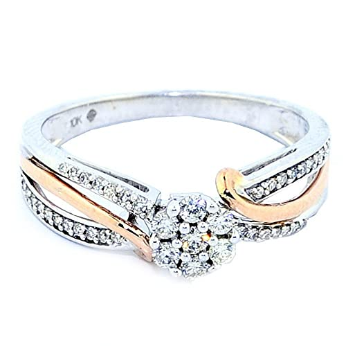 Rings-MidwestJewellery.com Women's 1/5Cttw Diamond Rose And White Gold 10K Bridal Engagement Ring 6Mm Wide(I/J Color 0.2Cttw)
