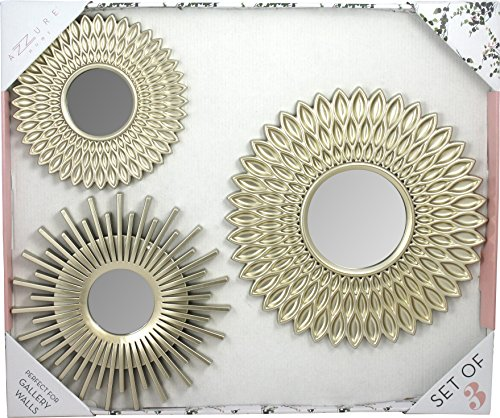 3 Piece Multiple Finish Sunburst Mirror Set, Wall Accent Display