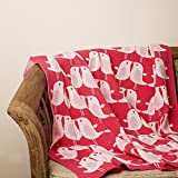 PLUCHI Lovey Dovey Bird Neon Pink & Ivory 100% COTTON KNITTED KIDS BLANKET