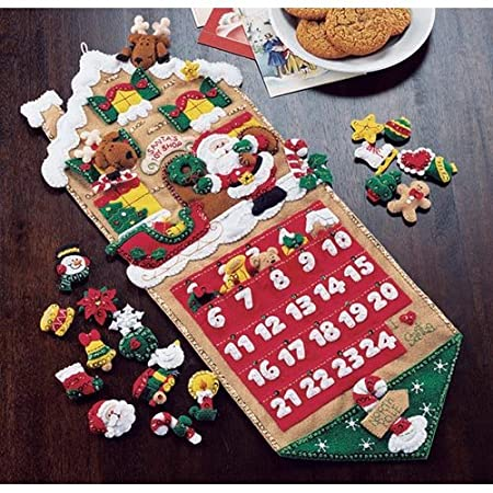 BUCILLA 86541 Plaid Santa's Toy Shop Felt Applique Advent Calendar Kit