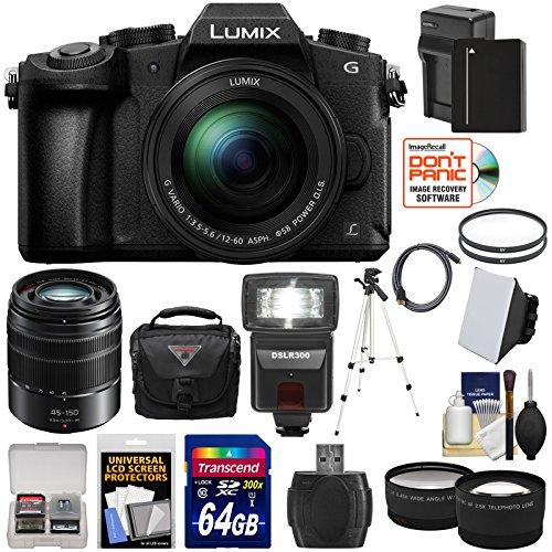 Panasonic Lumix DMC-G85 4K Wi-Fi Digital Camera & 12-60mm Lens with 45-150mm Lens + 64GB Card + Battery + Case + Tripod + Flash + Tele/Wide Lens Kit