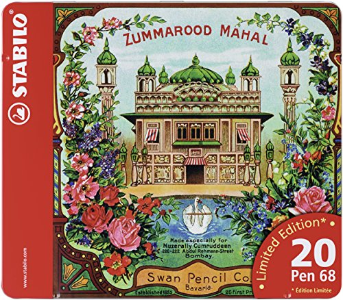 stabilo-pen-68-fibre-tip-pens-in-a-metal-tin-of-20-assorted-colours-limited-edition-zummarood-mahal-