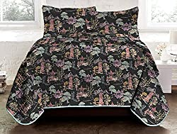 Chinoiserie 3-Piece Reversible Quilt King_Black Multi