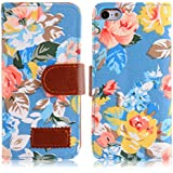 Cath Style Vintage Floral Flip Stand Leather Wallet Case Cover for iPhone 5C (Blue)