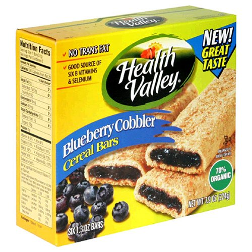 Buy Health Valley Cobbler Cereal Bars, Blueberry, 1.3-Ounce Bars in 6-Count Boxes (Pack of 12) (Health Valley, Health & Personal Care, Products, Food & Snacks, Breakfast Foods)