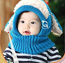 ABOEL8482New Good Quality Lovely Winter Baby Kids Girls Boys Warm Woolen Coif Hood Scarf Caps Hats 1