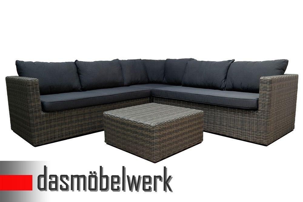 Polyrattan Eck Lounge Sitzgarnitur Gartenmöbel Sitzgruppe Terrasse grau / blau online bestellen