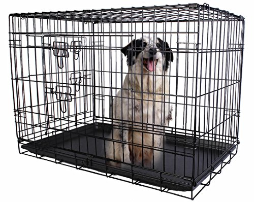 Giantex 2 Doors Wire Folding Pet Crate Dog Cat Cage Suitcase Kennel Playpen w/ Tray 24''/30''/36''/42''/48'' (24'' ) (Big Dog Kennel compare prices)