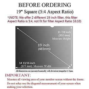 Ovimir 19.0 Inch (Diagonally Measured) Computer Privacy Screen Filter, [5:4 Aspect Ratio] Compatible Square Monitors Anti-Glare - Anti-Scratch Screen Protector - (WxH:377mmx302mm) (Color: 19 Square (5:4 Aspect Ratio), Tamaño: 19 Square (5:4 Aspect Ratio) (WxH:377mmx302mm))
