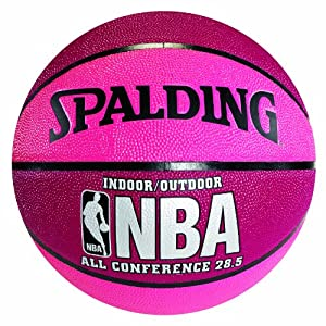 Spalding 74-703 Pink &amp; Crimson NBA All Conference Basketball, Size 6 (28.5&quot;)