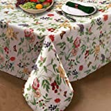 Enchanted Garden Flannel Backed Vinyl Tablecloth Indoor Outdoor 52-Inch by 52-Inch Square