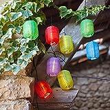 Guirlande Lumineuse LED Solaire avec 10 Lampions Chinois Ovales Multicolores de Lights4fun