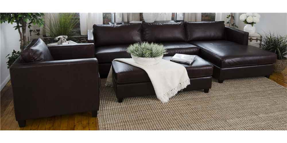 4-Pc Leather Upholstered Sectional Set