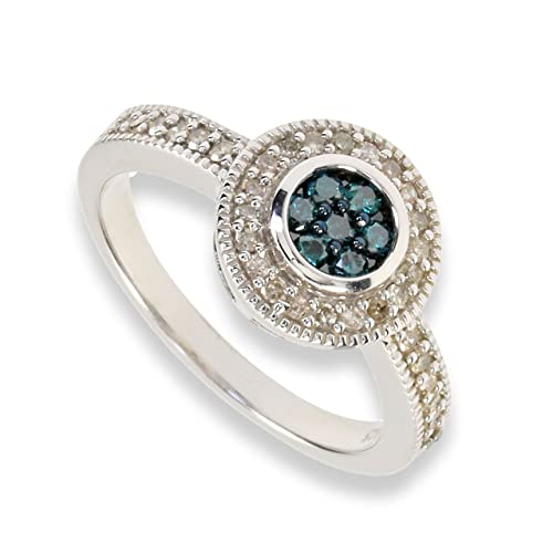 Ice Diamonds Women's Ring 925 Sterling Silver with Blue 0,35ct S403