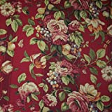 "54"" Wide Fabric Raymond Waites Campagna Red Rhubarb Fabric By the Yard"