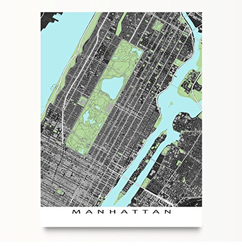 Manhattan Map Art, New York City Poster, NYC, Central Park, Times Square, Upper East Side (Upper East Side Poster compare prices)