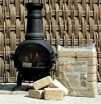 Fire Pit Chimenea Fuel Pack Kit Contains 24 High Heat Wood Briquettes And 28 Firelighters by Recycling Resources ltd