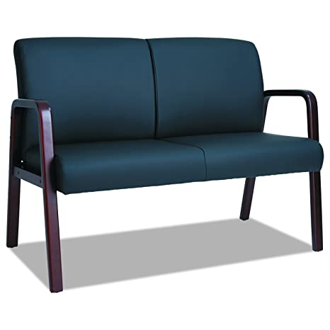Alera RL LOVESEAT Reception Lounge Series Wood Loveseat, 44 7/8 x 26 x 33 1/4, Black/Mahogany